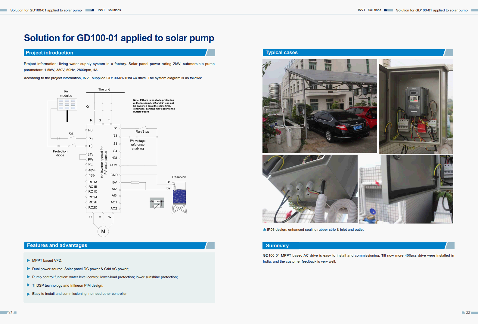 Solution for GD100-01 applied to solar pump