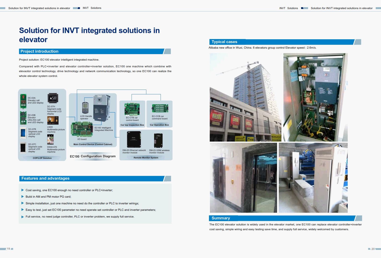 Solution for INVT integrated solutions in elevator